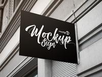 Free Sign PSD MockUp in 4k