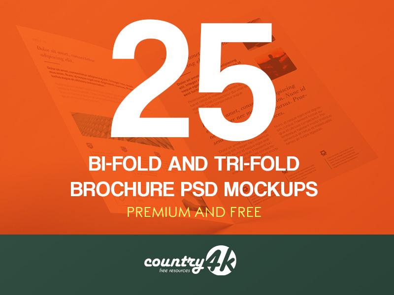 25 Premium and Free Bi-Fold and Tri-Fold Brochure PSD MockUps corporate company business brochure tri-fold bi-fold design paper mockups psd mockup free