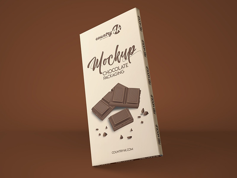 Free Chocolate Packaging PSD MockUp in 4k sweet packaging chocolate branding box bar presentation food psd product mockup free
