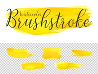 Free Yellow Watercolor Brushstroke Transparent PNG Pack