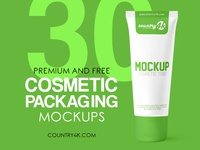 30 Premium and Free Cosmetic Packaging PSD MockUps