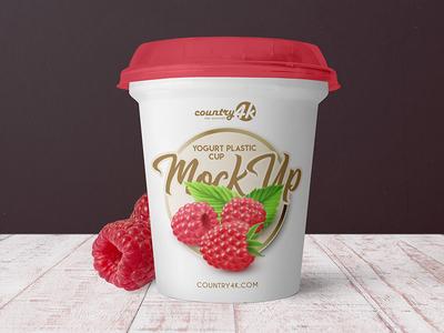 Free Yogurt Plastic Cup PSD MockUp in 4k