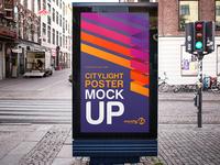 Free Citylight Poster PSD MockUp in 4k