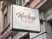 Free Cafe Sign PSD MockUp in 4k