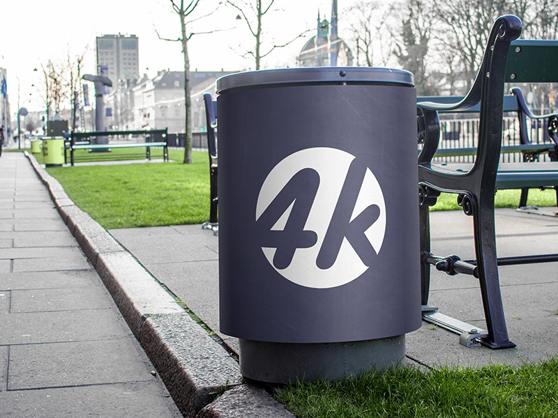 Free Trash Can PSD MockUp in 4k design psd product trash street outdoor mockup metallic logo advertising outdoor mockup free