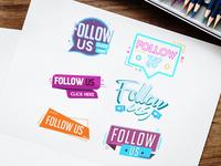 Free Follow Us Banner Vector Set