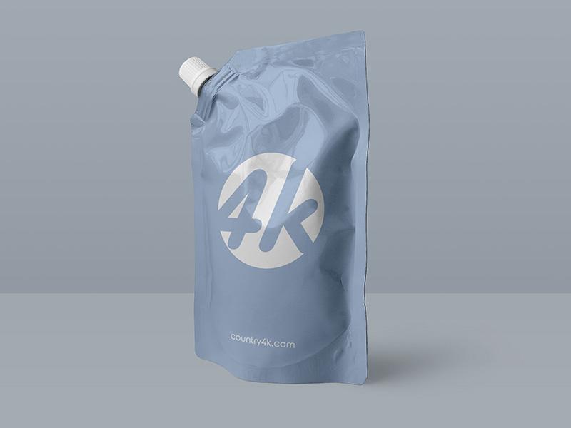 Free Doypack Foil Bag PSD MockUp in 4k bag flex sauce pouch package foil doypack product food psd mockup free