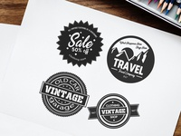 Free Retro Stickers Vector Set