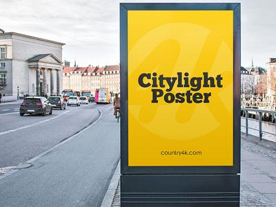 Free Citylight Poster 2 PSD MockUp in 4k