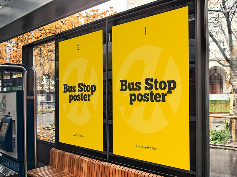 Free Bus Stop Poster Psd Mockup In 4k By Country4k On Dribbble