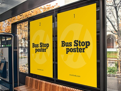 Free Bus Stop Poster PSD MockUp in 4k
