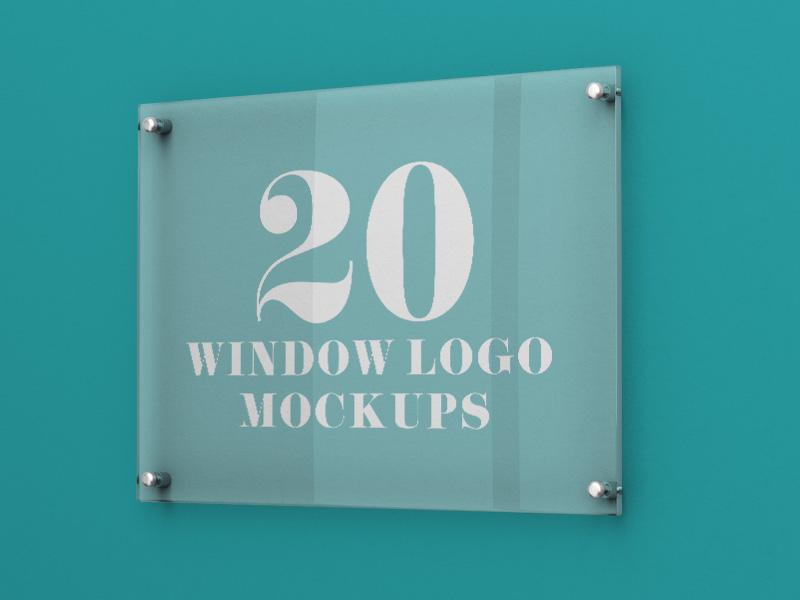 20 Premium and Free Glass Window Logo PSD MockUps branding cafe restaurant signage sign glass window logo freebie mockups mockup free