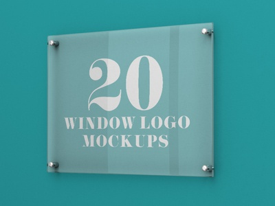 20 Premium and Free Glass Window Logo PSD MockUps