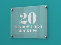20 Premium and Free Glass Window Logo PSD MockUps