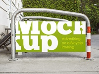 Free Advertising on a Bicycle Parking PSD MockUp in 4k