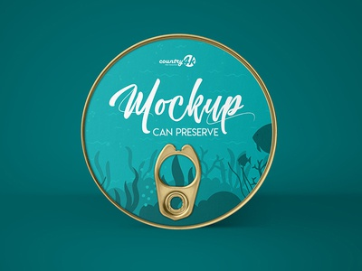 Free Can Preserve v02 PSD MockUp in 4k product logo label round preserve food fish can presentation mockup freebie free