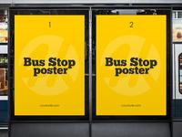 Free Bus Stop Poster v02 PSD MockUp in 4k