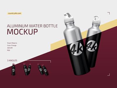 Aluminum Water Bottle Mockup Set