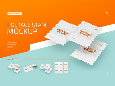Postage Stamp Mockup Set