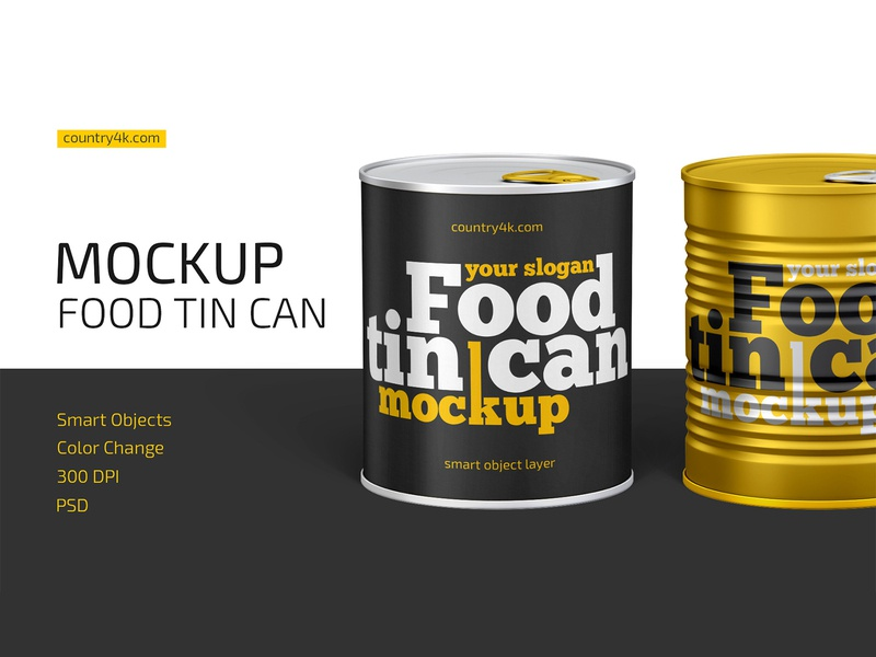 Food Tin Can Mockup corn preserve conserve tin can tuna container packaging metal food logo product mockup