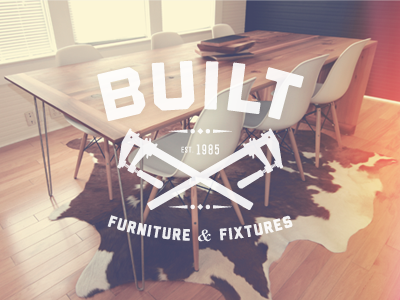 Built built photography photo color correction fabrication logo identity cow hide rug clamps furniture fixtures