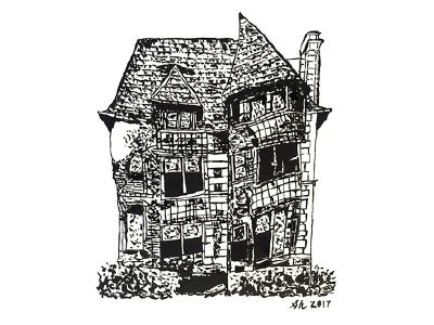 "William Livingstone House aka ""Slumpy"" Illustration artbysharonhillman philly artist detroit illustration architecture pentel brush pen freehand linework ink"