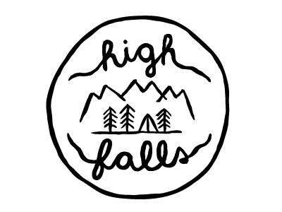 High Falls Band Sticker artbysharonhillman philly artist sticker band pentel brush pen freehand line drawing ink