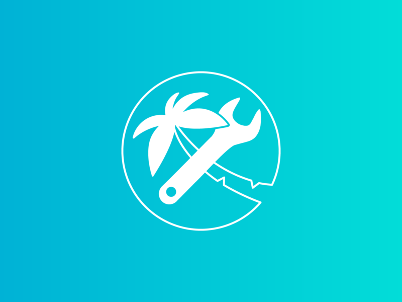 Holiday Hacker logo icon skyscanner palm tree vacation trip holiday hacker emblem badge illustration design typography sketches logo simplicity graphic design