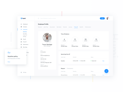 Employee profile (Time off) ux profile time off sign in time tracking dashboard onboarding ui humi