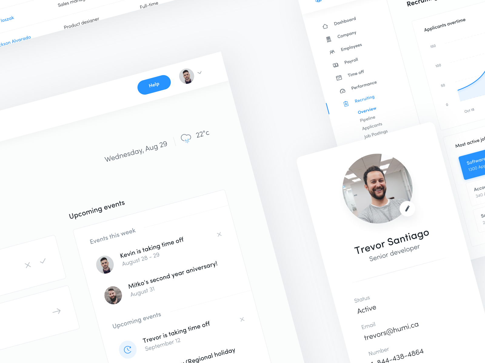 Humi 2 is now live!!! desktop saas feed profile product payroll page design hris minimal ux time tracking app blue clean branding typography design humi ui dashboard