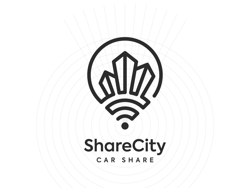 Share City logo pin pointer map illustration illustrator wi-fi logotype share town city vector logo