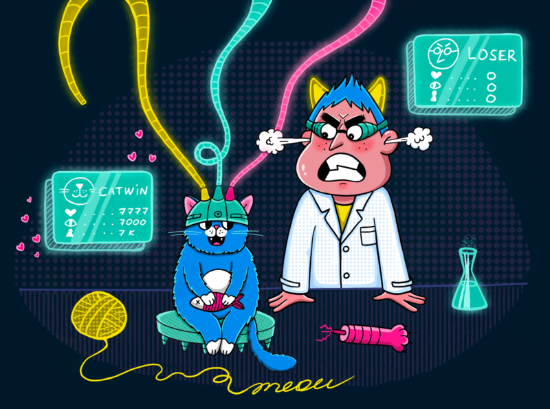 Who is more popular? cartoon illustration cartoon character neon colors win loser art characterdesign design laboratory experiment professor man animal cat procreate illustration