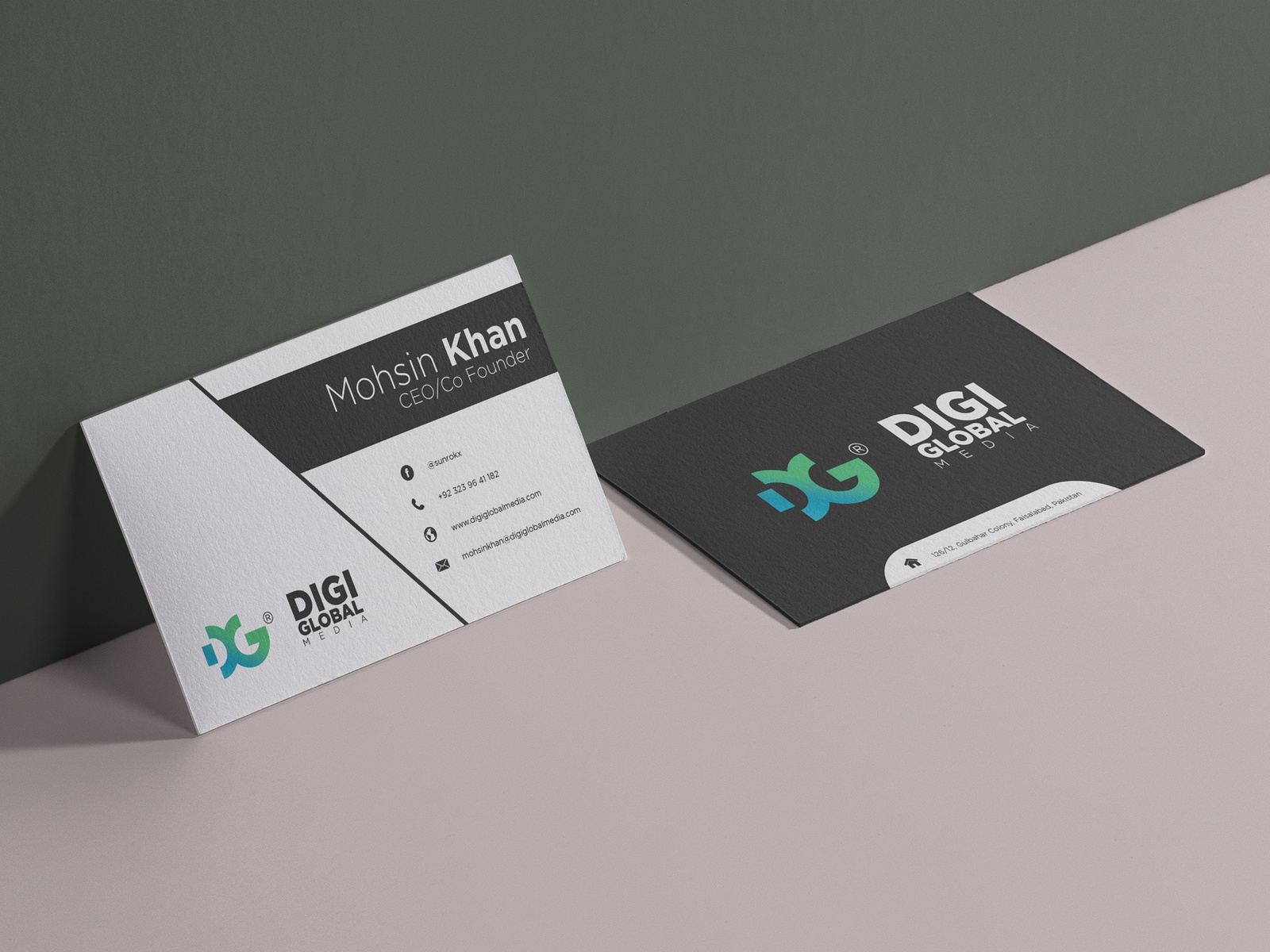 Business card of digi global media by tayyab tanveer dribbble this is 2nd business card design for that i made for digi global media this one is my favorite design very simple unique professional and elegant colourmoves