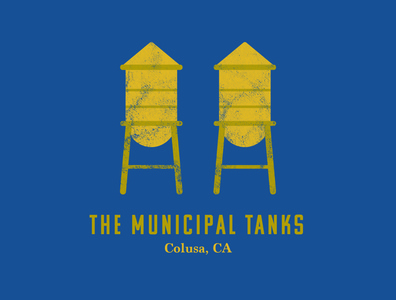 Municipal Tanks landmarks watertanks watertower colusa california color vector design illustrator illustration