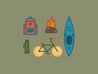 Adventure Pack Set thermal backpack fire kayak biking hiking outdoor travel badge adventure color vector design illustrator illustration