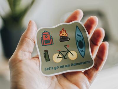Adventure sticker adventure camping outdoors sticker vector badge design illustration illustrator