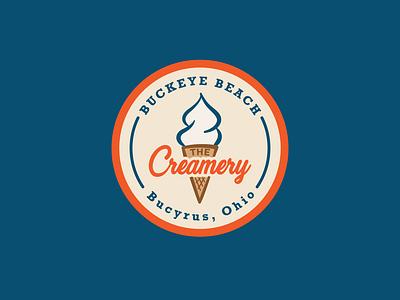 The Creamery Logo ohio cone icecream logo branding badge color design illustration illustrator