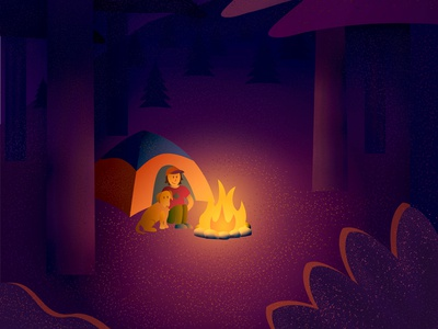 Camping Buddies tent fire outdoor camping color vector design illustration illustrator