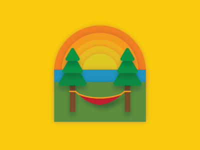 Hammock Views outdoor camping badge adventure color vector design illustration illustrator