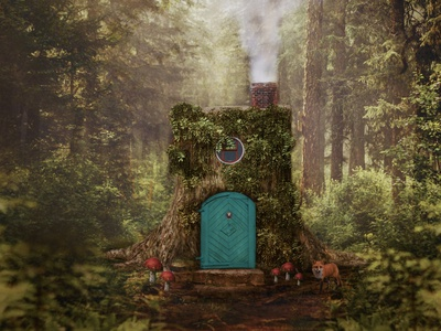 Gnome Home photos magical loghouse fox gnome photoshop photomanipulation woods
