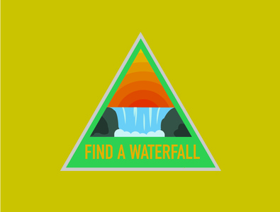 Waterfall Nature Badges badge nature waterfall adventure design illustrator illustration