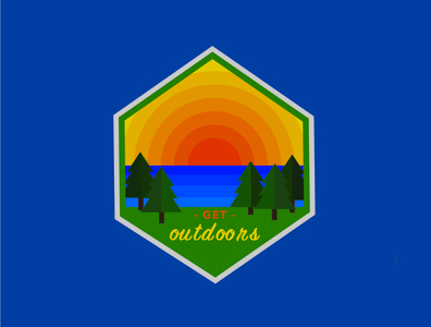 Nature Badge sun lake outdoors adventure vector color badge design illustrator illustration