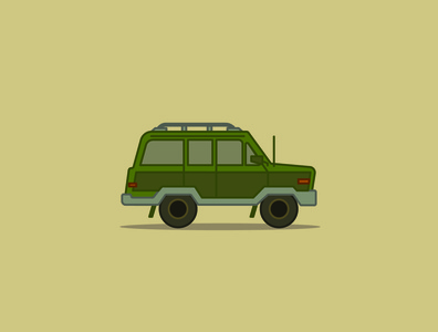 Green Jeep vehicle jeep adventure vector design illustrator illustration