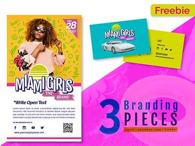 Free Retro Colorful Branding Pack Miami Girls freebie flyers business-card logo template girls vector branding retro-design free
