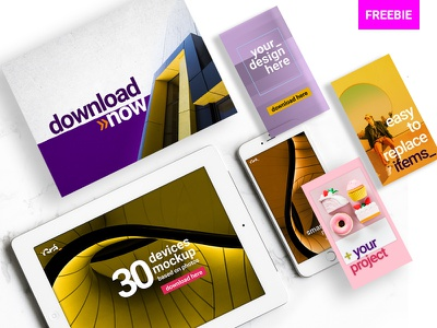 Devices Mockups Easy to Use 下载 小样 template psd editable freebie mockup device download free