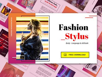 Free PowerPoint Template Fashion Style presentation design freelance 介绍 graphic design google slides freebie download fashion design powerpoint template free