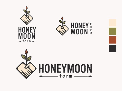 Honeymoon Farm #2 vector graphic earthtones branding design farmer handsholding farm heart heartlogo handlogo logo organic logo farmlogo flowerlogo plantlogo organic honeymoon