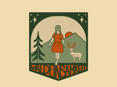 Waldeinsamkeit orangeandgreen logo design whimsical enchanted wunderlust woodland mountains trees naturebadge forestbadge forestlogo girlinwoods vector illustration graphic