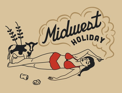 Midwest Holiday vectordesign adobeillustator vector beer smoking cow pinup midwest logo illustration graphic