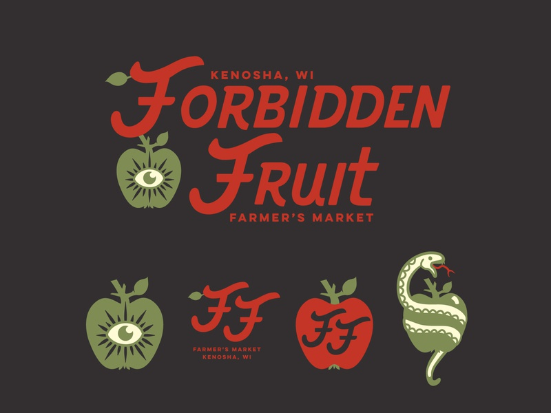 Forbidden Fruit Farmer's Market logo customtypography typography brand identity applelogo fruit snake apple illustration brand farmlogo farmersmarket branding graphic